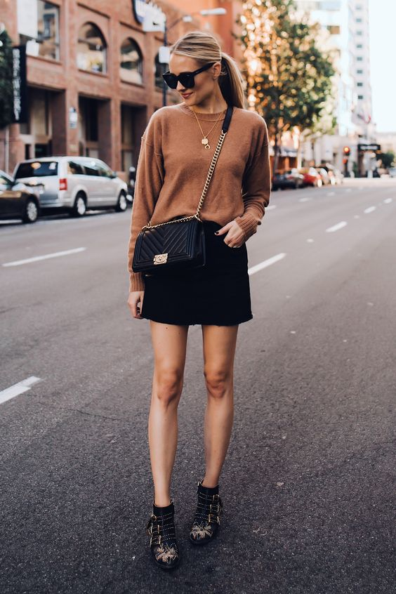 Blonde Woman Wearing Free People Tan Sweater Black Denim Skirt Outfit Chanel Black Boy Bag Chloe Susanna Blacks Booties Fashion Jackson San Diego Fashion Blogger Street Style