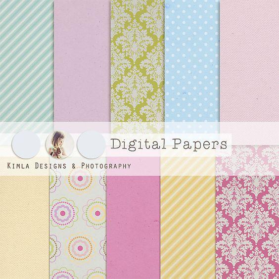 Digital Scrapbooking Papers pack, vintage 3, 12x 12 in , 300 dpi. $5.00, via Etsy.