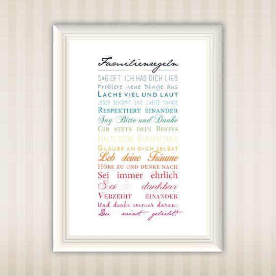 Family Rules | Familienregeln | A4 | Print | Gift | Wall Art | Typo | Design | schöne Sprüche