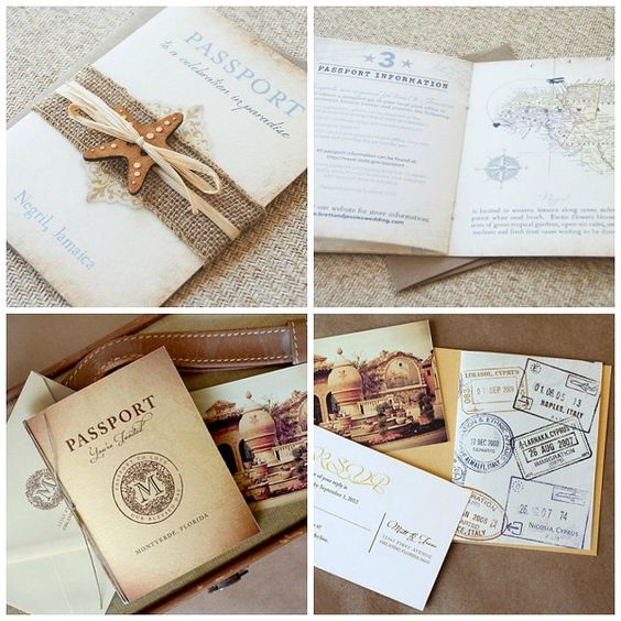 So many fantastic options for Passport Wedding Invites -- a popular choice for destination weddings!: