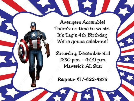 10 Captain America Invitations with Envelopes. Free Return Address ...