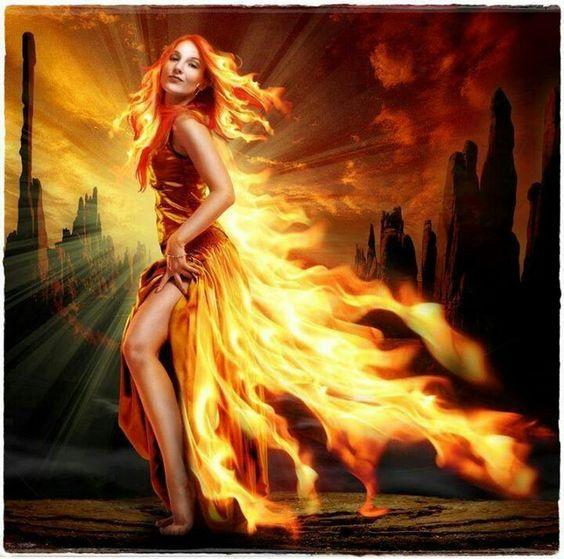 Fiery Woman And Fox Wallpaper