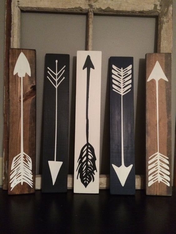 Wood Arrows| Wood Sign| Set Of 3 | Rustic Wood Sign | Gallery Wall