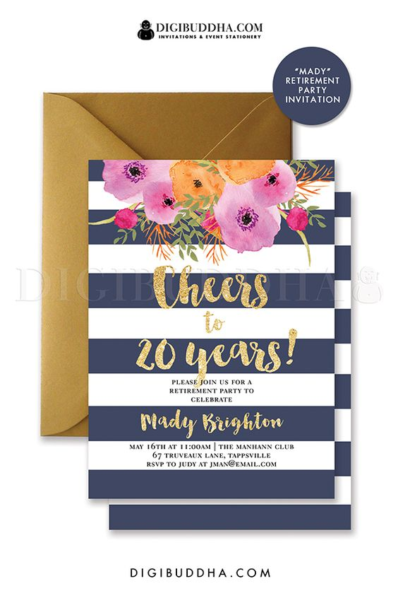 Navy and gold stripe retirement party invitations with bright watercolor flowers and gold glitter brush script letting. Bon Voyage invitations. Gold envelopes also available.