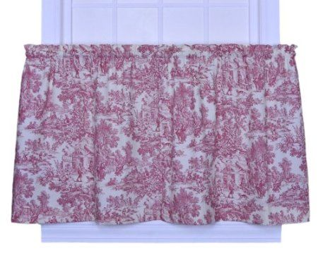 Curtains Ideas 36 inch tier curtains : Amazon.com: Victoria Park Toile 68-Inch-by-36 Inch Tailored Tier ...