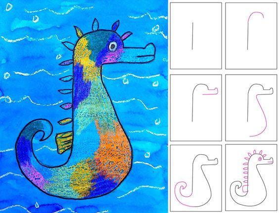 Seepferdchen zeichnen