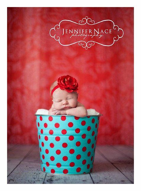 Newborn Baby Photo Prop Galvanized Bucket Aqua and Red Quarter Dot. $28.00, via Etsy.