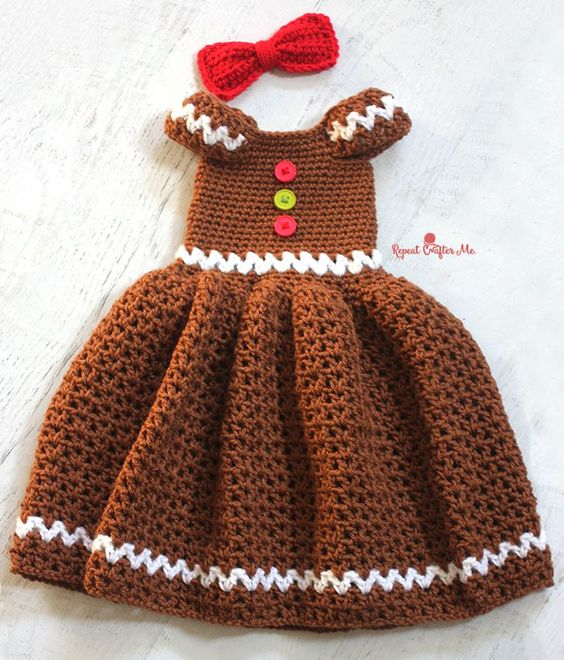 Free Crochet Pattern For Christmas Dress : Gingerbread Girl Dress By Kara - Free Crochet Pattern ...