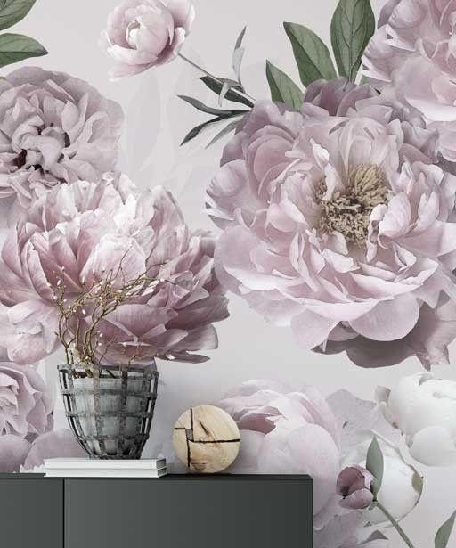 Modna Tapeta W Duze Kwiaty Peonie Na Jasnym Tle Ozdobna Designerska Tapeta W Roze Bogaty Motyw Na Twoja Sciane Beautiful Bedrooms Beautiful Plants