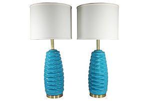One Kings Lane - Midcentury Desert Chic - Turquoise Honeycomb Lamps, Pair