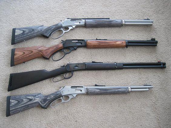 top to bottom. Marlin 1895SBL, 45-70. Marlin 1895GBL, 45-70. Puma/ Leg 92, 454 Casull Marlin 336SDG, 30-30. Marlin 1894, 357mag (1971)