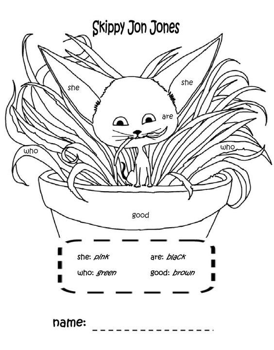 skippy jon jones coloring page with sight words that I made :) Kids are going to love it!