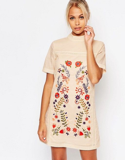 Fashion Union | Fashion Union Shift Dress with Embroidery