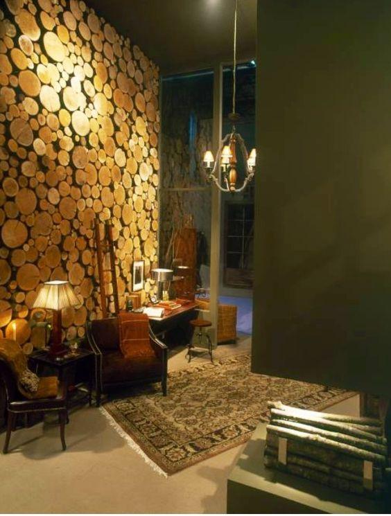 Pared con troncos de madera dise o interiores pinterest - Paredes decoradas con madera ...