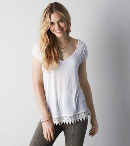 AEO Cross Back Tassel Trim T-Shirt