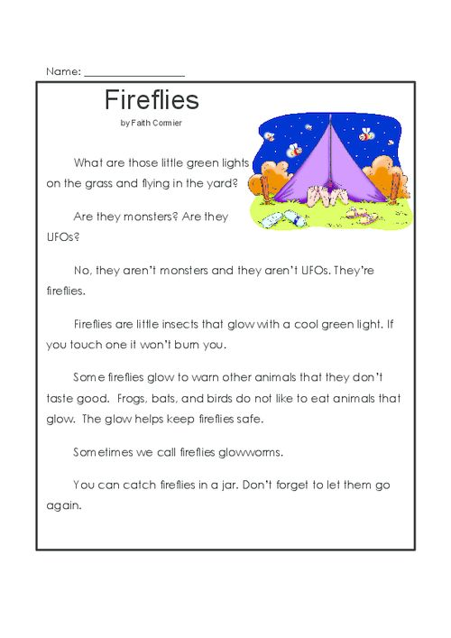 A fun story about fireflies, that also comes with a set of comprehension questions. Have your child read the story out loud before they work on the questions. Worksheets contain a variety of activities, including short answer questions, true and false, and a word search.   Read more at http://kidspressmagazine.com/reading-comprehension-grade-1/worksheets/misc/fireflies.html#XeCvKH5zvLbkxq06.99