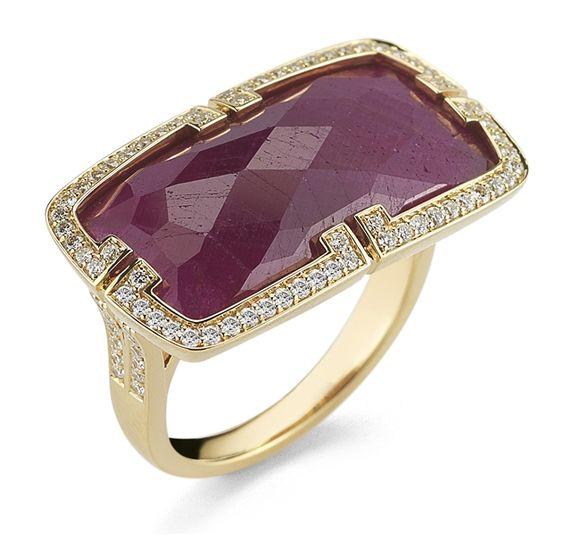 Patras Horizontal African Ruby Ring