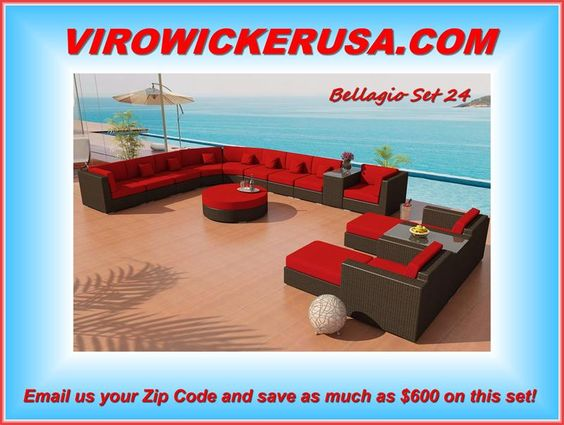 Outdoor Wicker Sectional with Gorgeous Rounded Corners and Java Viro Wicker in…