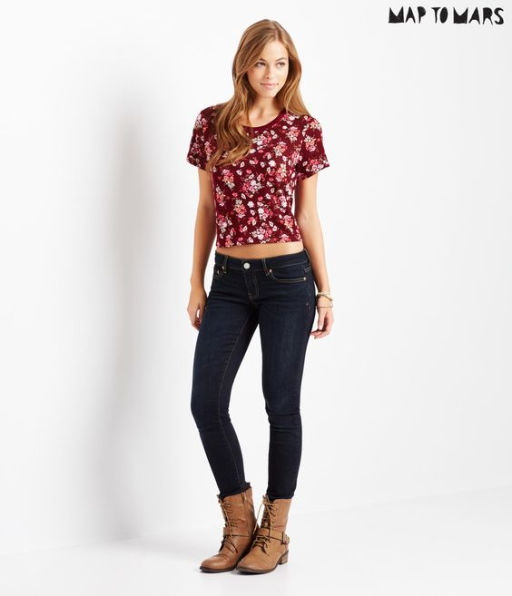 Map to Mars Floral Boxy Crop Tee - Aeropostale