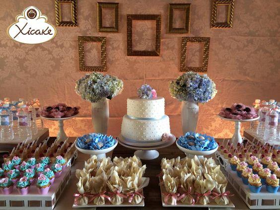 Aniversário Cake Poá Azul e rosa