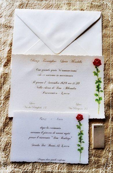 PARTECIPAZIONE di matrimonio AVORIO con ROSA ROSSA, by Progetti Grafici per Matrimoni ed Eventi, 1,55 € su misshobby.com