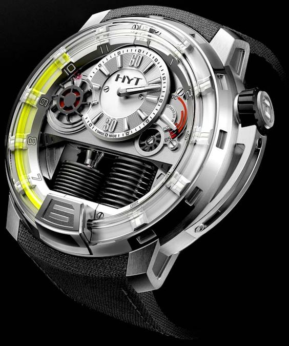 HYT H1 Hydro Mechanical Watch - this fully mechanical watch uses two bellows to push luminescent green goo in a tube to show you what time it is. Yes, really.