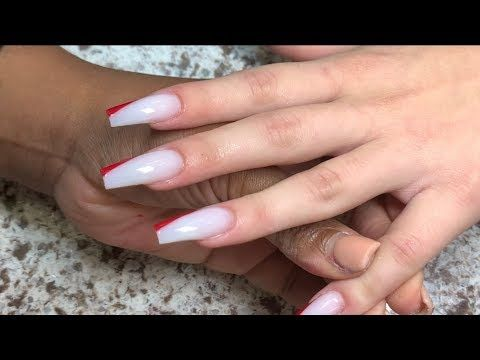 Red Milky White Side Tip Acrylic Nails Youtube Red And White Nails White Acrylic Nails White Nails