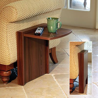 Fold away side table folds down when not in use for Sofa table tennis