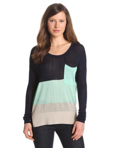 LAmade Womens Color Block Viscose Long Sleeve Scoop Neck Pocket Sweater