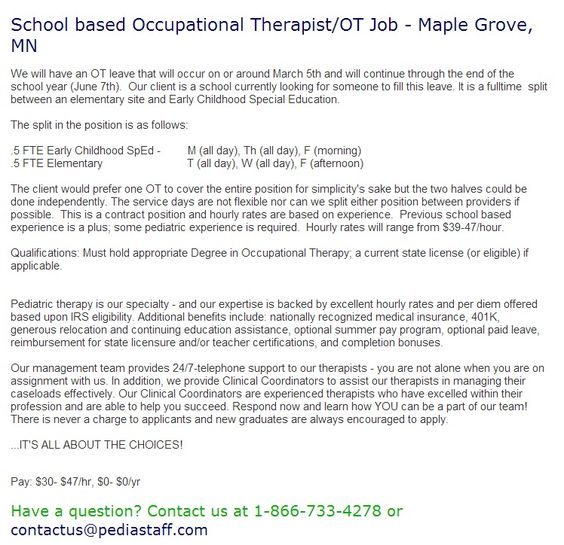 School Based Occupational TherapistOt Job  Maple Grove Mn We