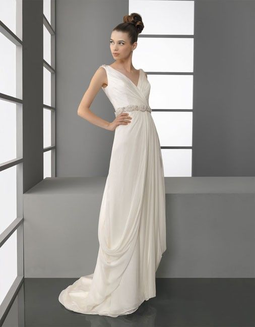 V-neck A-line chiffon bridal gown $375.00