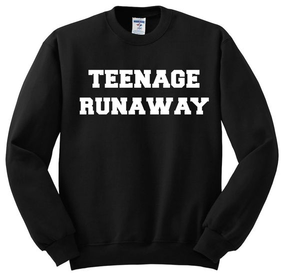 Teenage Runaway - Ultra soft crew-neck sweatshirt available in size small through extra large black crew neck sweater