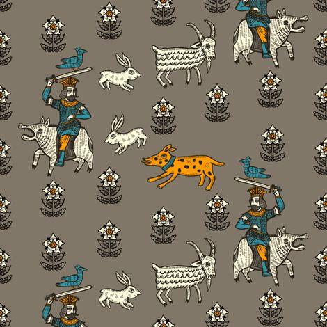 medival knight fabric| sikaritari - ruusulampi - Spoonflower