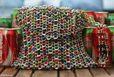 bag made from 500 soda pop tops