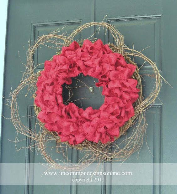 Red Burlap and Grapevine Wreath