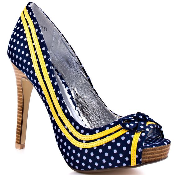 polka dot shoes - navy &amp white with yellow | Wedding Stuff