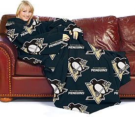 Northwest Pittsburgh Penguins Comfy Throw Blanket with Sleeves: