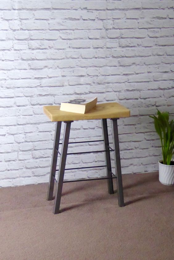 Modern Industrial Ash and Steel Stool by escafell on Etsy https://www.etsy.com/uk/listing/457739096/modern-industrial-ash-and-steel-stool