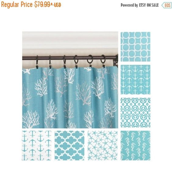 Aqua Curtains.Blue Window Curtains.Nautical Curtains.Kitchen ...
