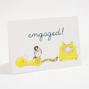 Engaged by Mister Peebles at Of Cabbages and Kings. A great card for a social media connected couple, or for a couple who appreciates rotary telephones and vintage gear.