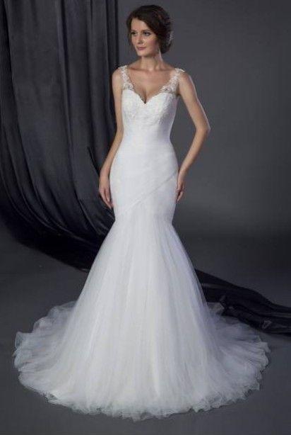 Robe de mariée sirène avec bretelles et dos nu en transparence