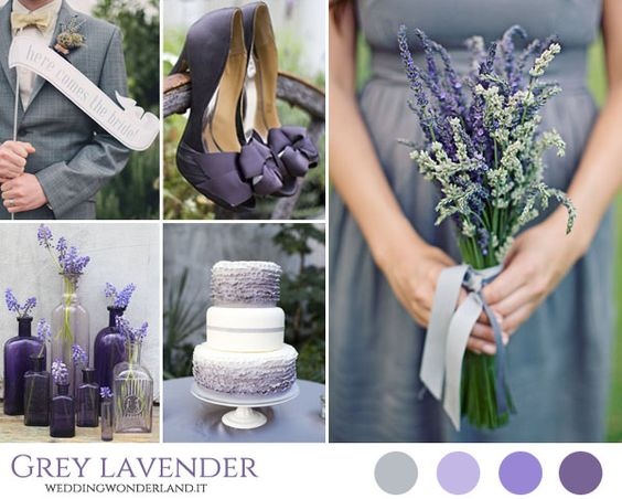 Purple, lavender and grey wedding inspiration board