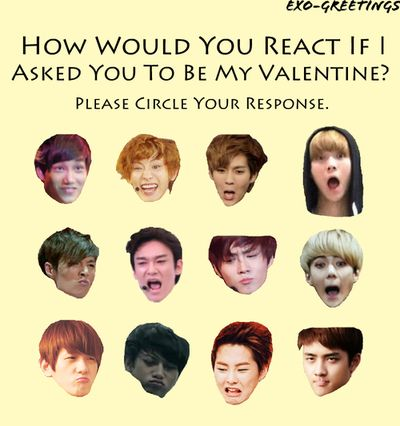 Exo Valentines Day cards XD  EXO  Pinterest  Exo Kpop and