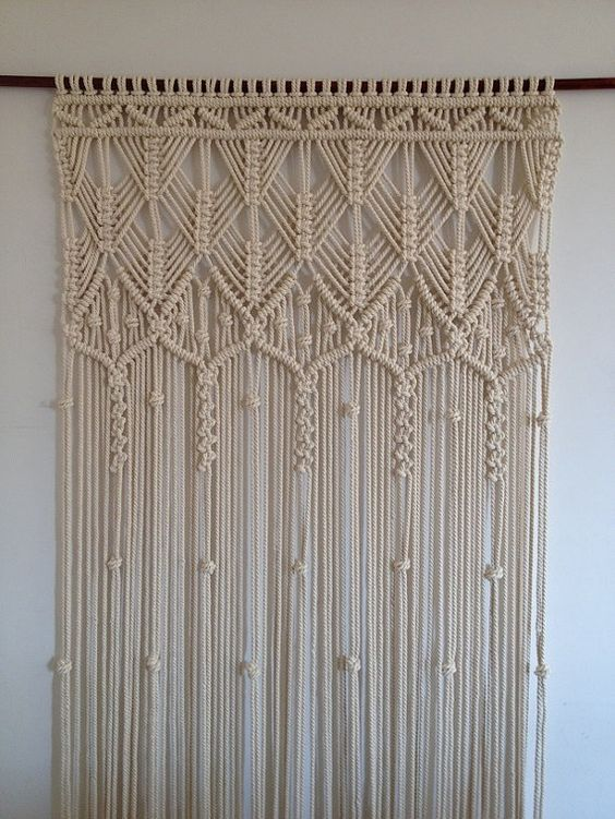 macrame curtain handmade macrame wall hanging ecru macrame curtain doorway. Black Bedroom Furniture Sets. Home Design Ideas