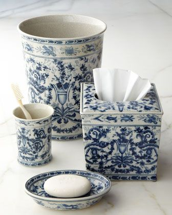 Blue white toile porcelain vanity accessories by oriental danny inc at horchow blue and - Toile bathroom decor ...