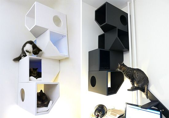 Catissa! Angular boxes stack on top of each other and attach to the wall at any height providing a cat climbing and perching structure that takes no floor space. Designed by Russian industrial design studio Mojorno. Unfortunately, shipping costs from Russia would no doubt drive me towards vodka.