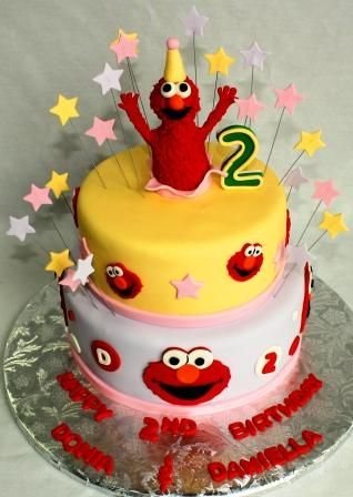 Elmo Tiered 2nd Birthday Cake with Elmo Sugar Figure Topper