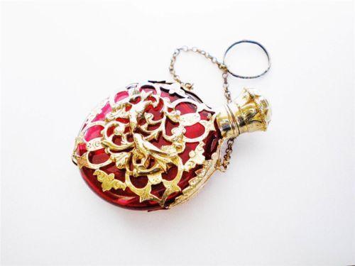 Antique Victorian Ruby Cranberry Glass Chatelaine Scent Perfume Bottle Love Bird   eBay