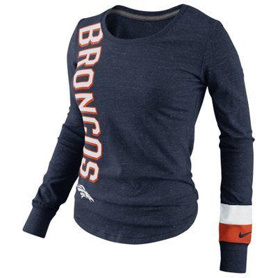 Nike Denver Broncos Go Long Ladies Long Sleeve T-Shirt - Navy Blue