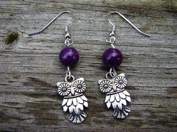 edgy owl  silver & purple beaded earrings by MamasNestDesigns, $10.00